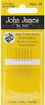 John James Ball Point Bead Embroidery Needles Size 10